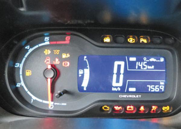 El tablero de moto está presente cada vez en más Chevrolet. No tiene indicador de temperatura del agua del motor.