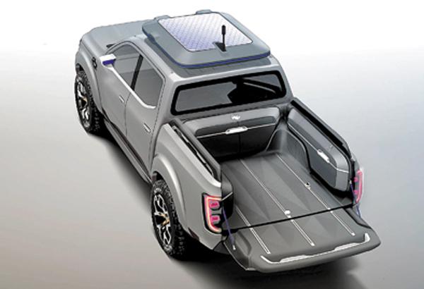 Tendrá una capacidad de carga de hasta una tonelada. Paneles solares sólo para el concept.