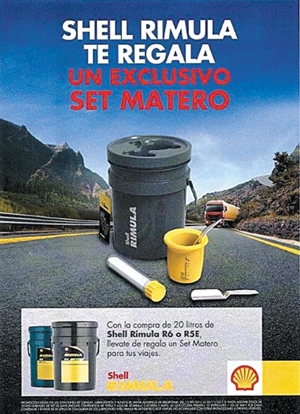 Con la compra de lubricantes Shell Rimula, el cliente se lleva de regalo un exclusivo Set de Mate Rimula.